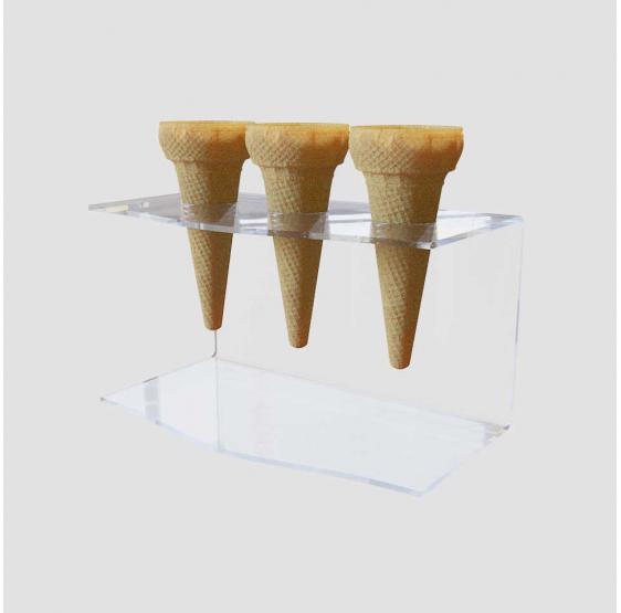 Porta Coni Gelato da Banco a 3 fori in Plexiglass Trasparente