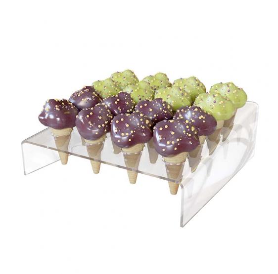 Porta Coni gelato mignon da Banco a 16 fori inclinato in Plexiglass Trasparente