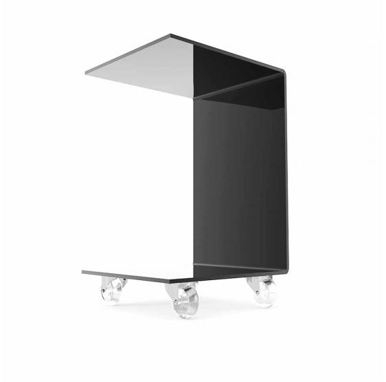 tavolino servitore con ruote in plexilass nero lucido