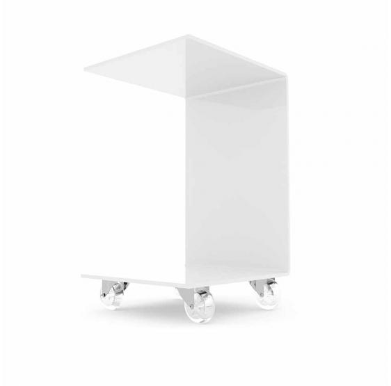 Tavolo/Tavolino bianco lucido servitore per divano con ruote - Plex D'autore