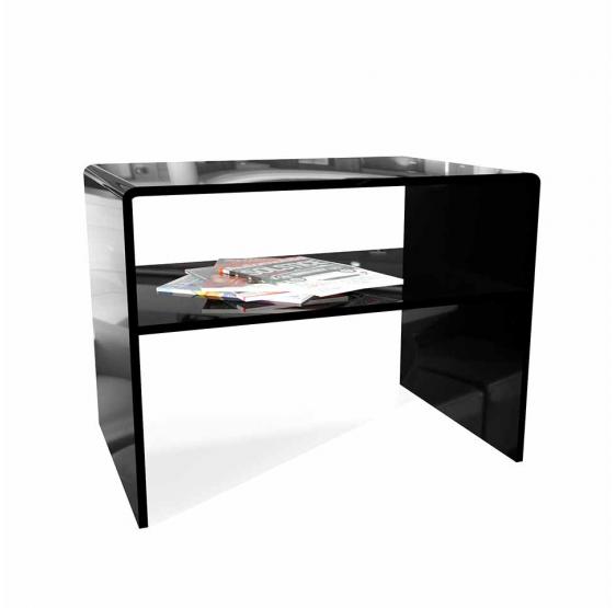 Comodino - Tavolino con mensola plexiglass nero spessore 10 mm