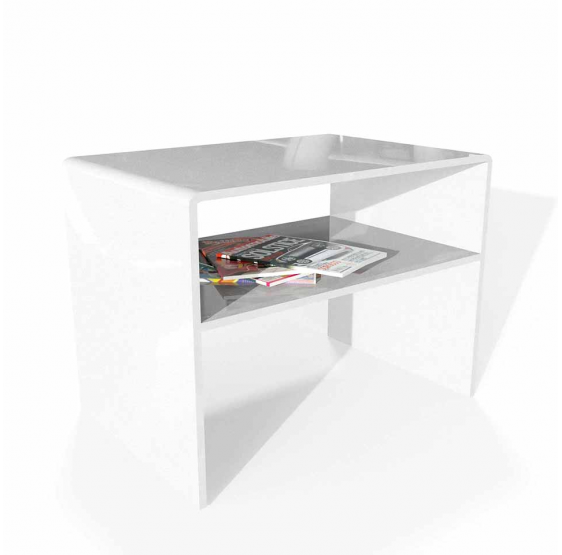 Comodino/Tavolino + Mensola Plexiglass Bianco Spessore 10mm