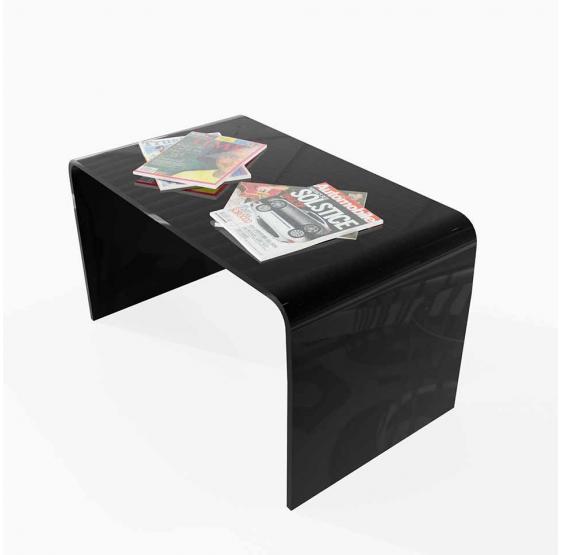 Tavolino da salotto in plexiglass di colore bianco e nero lucido