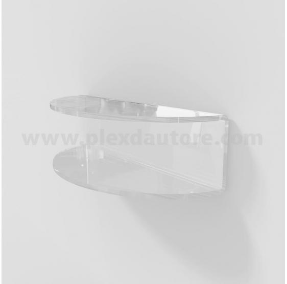 Mensola curva a C in Plexiglass 6 mm con kit montaggio