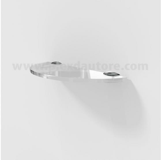 Mensola curva in Plexiglass 6 mm con reggimensola in metallo cromato