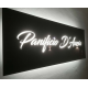 Insegna Light Box Led frontale sottile Plexiglass Nero lettere traforate Laser