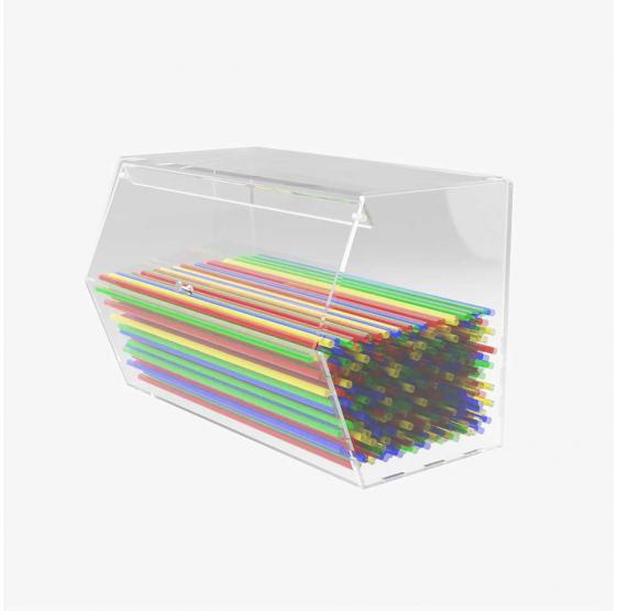 Porta Cannucce in plexiglass trasparente con sportello