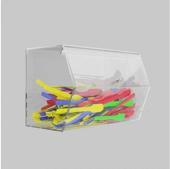 Porta cucchiaini in plexiglass trasparente con sportello