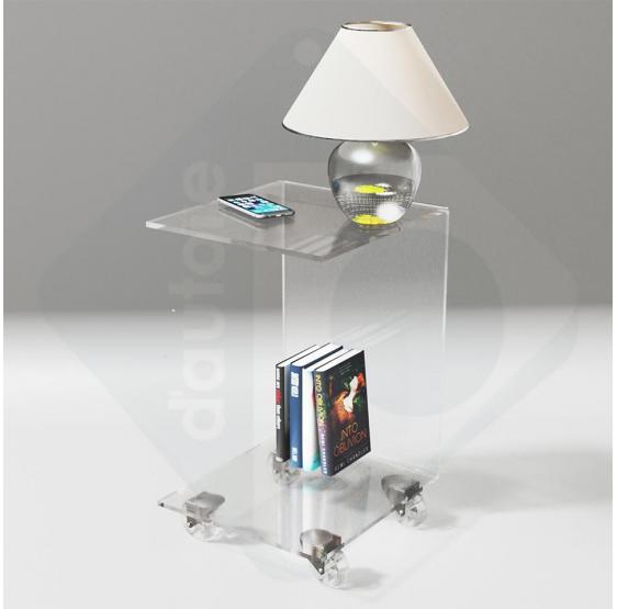 tavolino servitore da divano trasparente con ruote