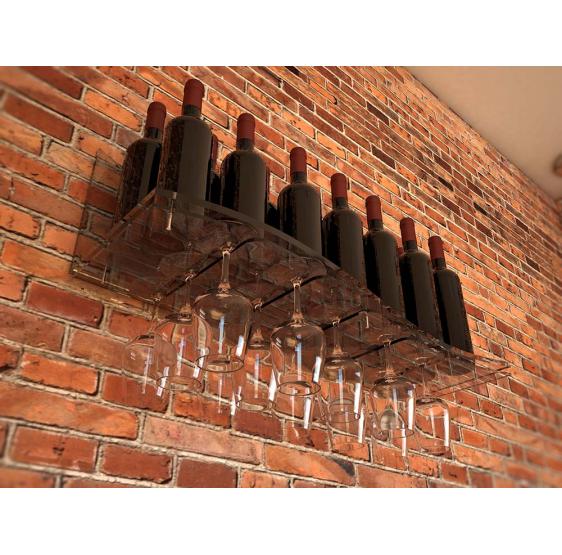 ALBAROLA Porta bottiglie con Porta calici in  Plexiglass trasparente - Plex D'Autore