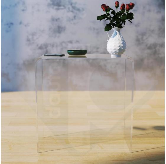 Tavolino consolle altezza 68 cm  in plexiglass trasparente spessore 10 mm