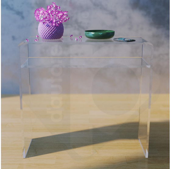 Scrittoio Scrivania Consolle 80 cm in plexiglass trasparente  Spessore 15mm - Plexiglass D'Autore