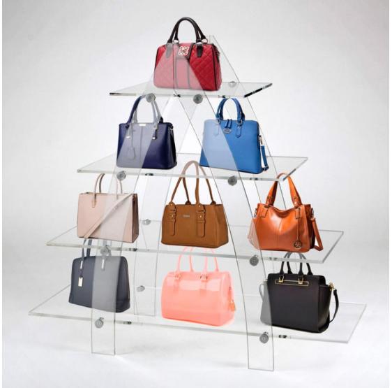 Espositore per borse in plexiglass trasparente