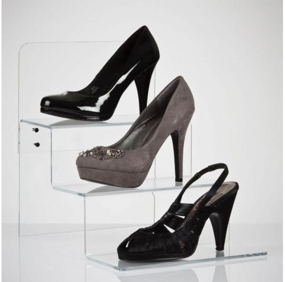 Espositore scaletta 3 posti per scarpe in plexiglass trasparente