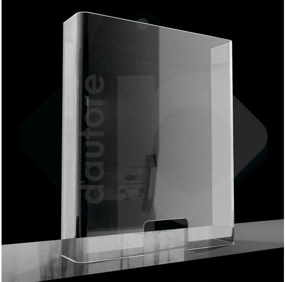 Barriera divisorio di protezione in plexiglass per cassa e banconi