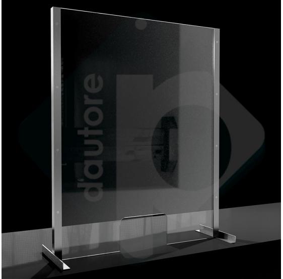 Barriera divisorio di protezione in plexiglass e alluminio