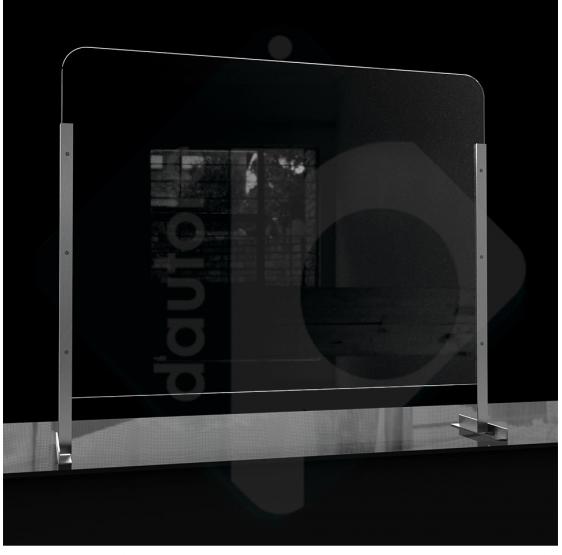 Barriera divisorio di protezione rialzato in plexiglass e alluminio