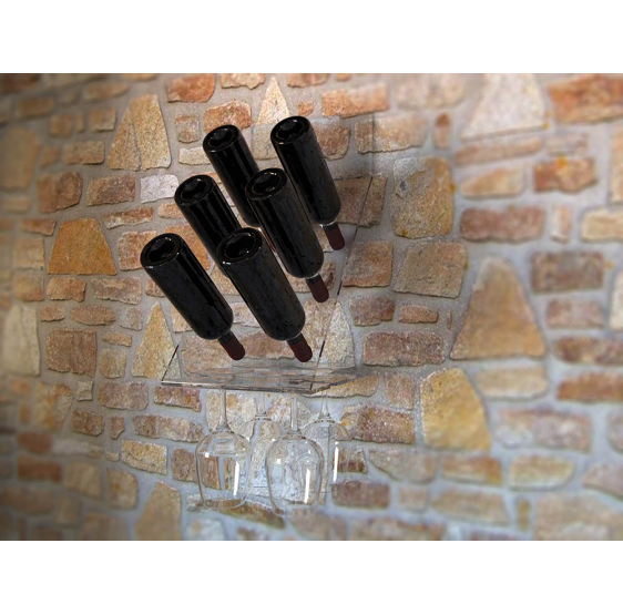 Sangiovese porta bottiglie e porta calici trasparente da parete.