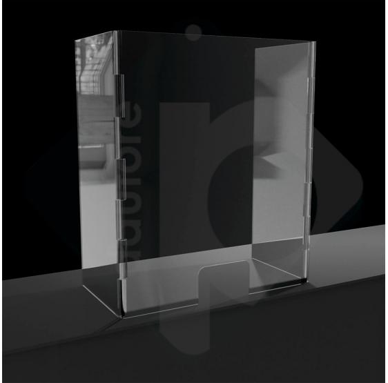 Barriera divisorio di protezione modulare con laterali mobili