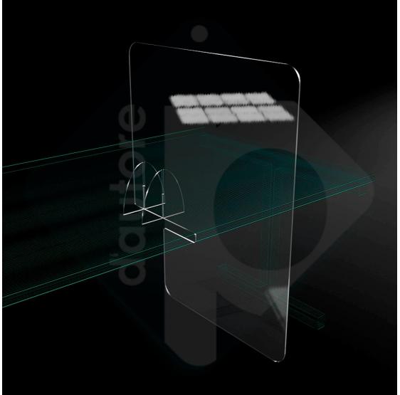 Barriera divisorio da tavolo ad incastro in plexiglass
