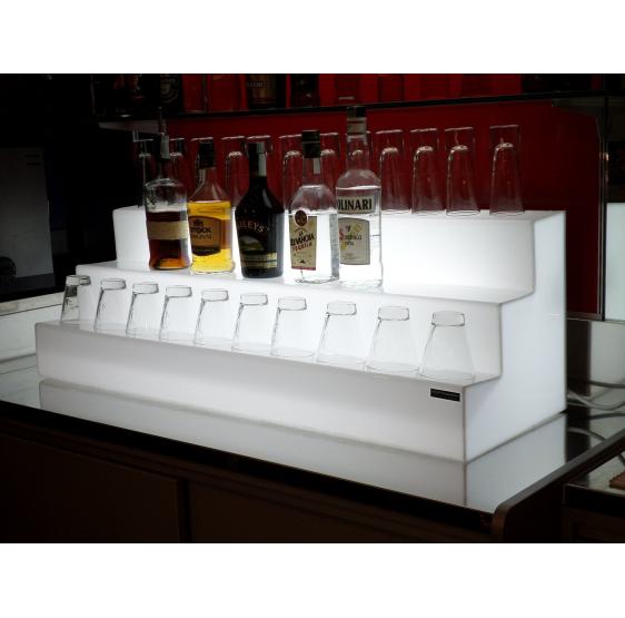 Espositore- bottigliera luminosa modello a 3 gradini - plexiglass d'autore