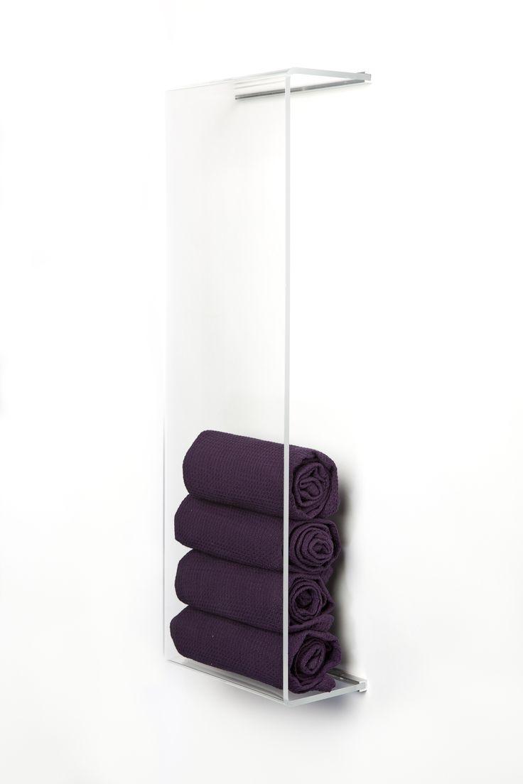 Appendi Asciugamani Da Muro porta asciugamani verticale in plexiglass trasparente brillante