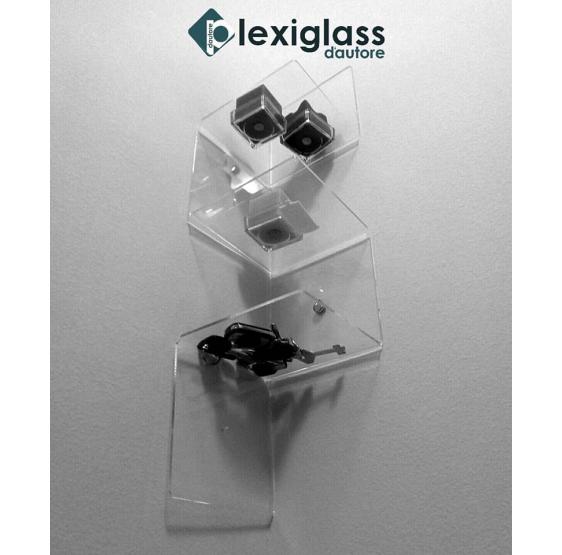Mensola DOMINO da parete in Plexiglass trasparente - Plexiglass D'Autore