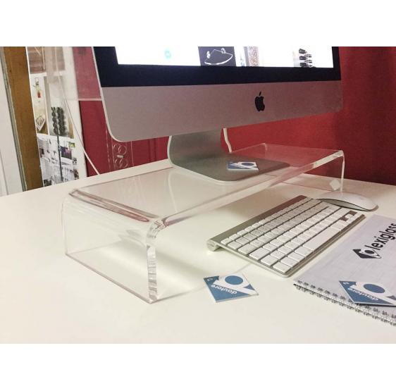 Supporto L80xP30xH20 da Tavolo per TV LCD MAC 21 Pollici Trasparente 80x30x20 - Plexiglass D'Autore