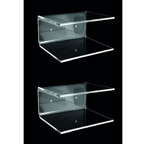 COPPIA DI N. 2 MENSOLE C L45P27H22 in plexiglass trasparente 10 mm - Plexiglass D'Autore
