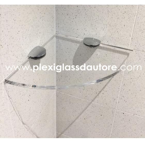 Mensola ad angolo Bagno Cucina a Muro in Plexiglass trasparente  - Plexiglass D'Autore