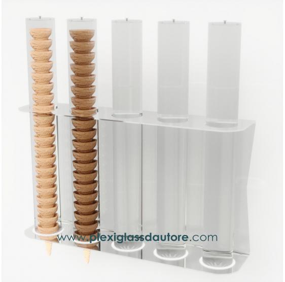 Porta coni gelato in plexiglass trasparente da parete in Plexiglass Trasparente