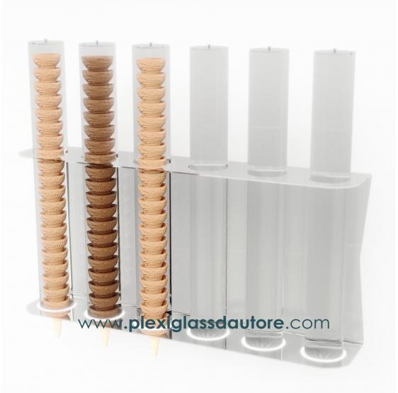 Porta coni gelato da parete a 6 file - Plexiglass D'Autore