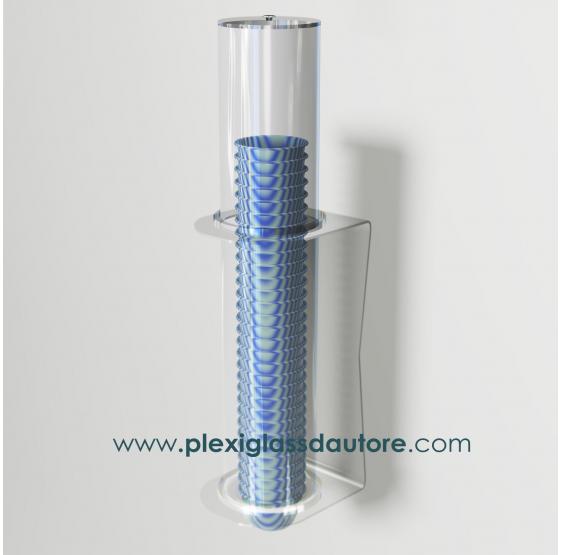 Porta coppette a 1 fila da parete - Plexiglass D'Autore