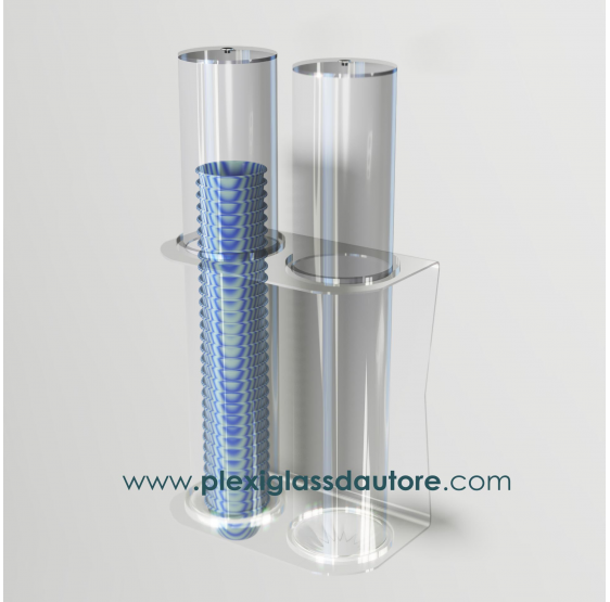 Porta coppette a 2 file da parete - Plexiglass D'Autore