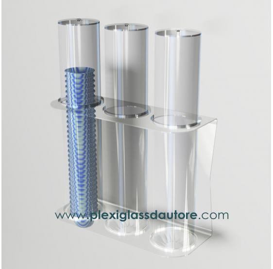 Porta coppette a 3 file da parete - Plexiglass D'Autore
