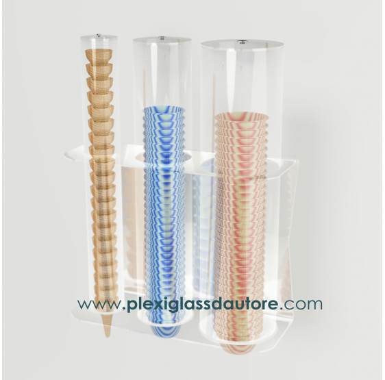 Porta coni coppette a 3 file da parete - Plexiglass D'Autore