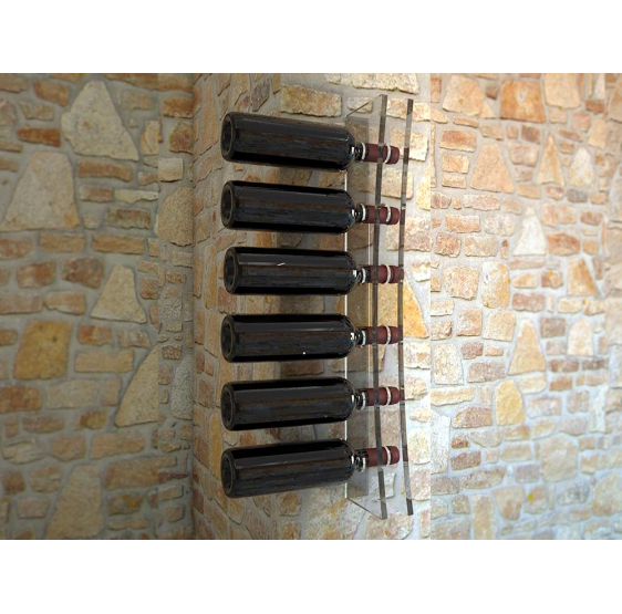 Trebbiano porta bottiglie da parete in plexiglass trasparente 6 posti