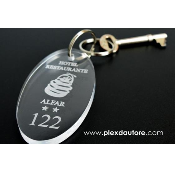 Portachiavi ovale in plexiglass trasparente - Plexiglass D'autore