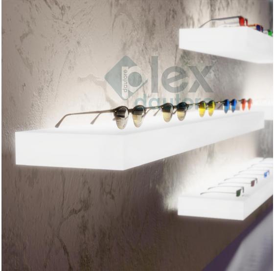 Mensole Luminose Plexiglass colore bianco opalino