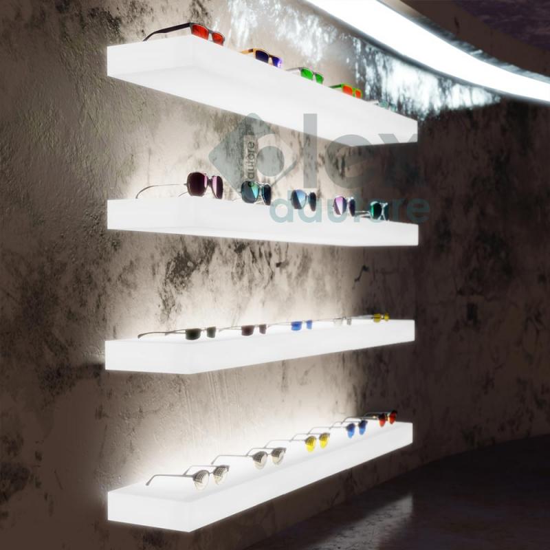Mensole Luminose Prezzi.Mensole Luminose Led In Plexiglass Opalino Per Ottiche E Negozi